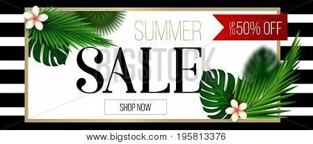 Summer sale web banner. Summer clearance poster design. Discount Banner with tropical leaves, summer sale trendy design.