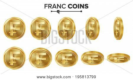 Franc 3D Gold Coins Vector Set. Realistic Illustration. Flip Different Angles. Money Front Side. Investment Concept. Finance Coin Icons, Sign, Success Banking Cash Symbol. Currency Isolated