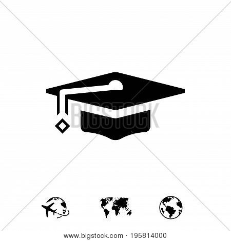 Graduation cap icon stock vector illustration flat design