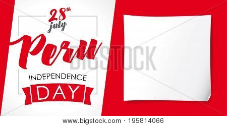 Peru Independence Day greeting banner. 28 July, Peru Independence Day lettering web banner background with flag colors