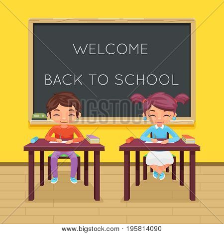 Study pupil student sit class table education desk lesson child character icon classroom school board background vector illustration