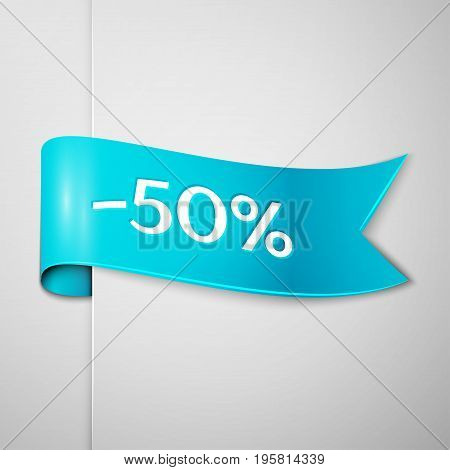 Realistic Cyan ribbon with text fifty percent for discount on grey background. Colorful realistic sticker, banner for sale, shopping, market, business theme. Vector template for your design