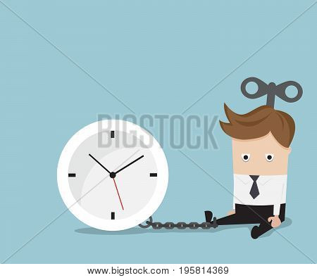 businessman gets chained with clock business time concept vector illustration