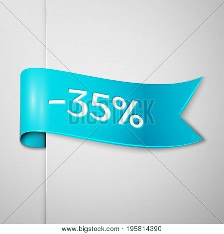 Realistic Cyan ribbon with text 35 percent for discount on grey background. Colorful realistic sticker, banner for sale, shopping, market, business theme. Vector template for your design
