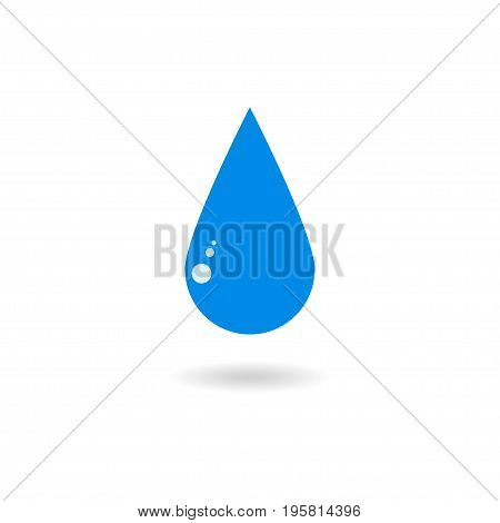 Blue water drop icon. Symbol of clear water. Isolated on white background. Vector illustration.