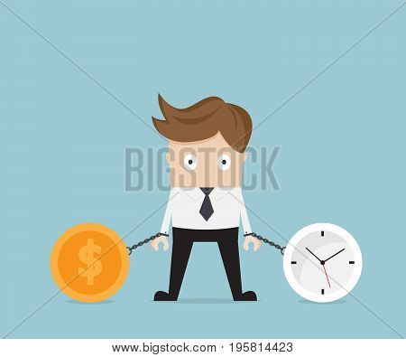 businessman gets chained with clock and money coin business time concept vector illustration