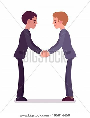 Business partners handshaking with both hands. Men in formal happy to sign contract, investment agreement. Office etiquette concept. Vector flat style cartoon illustration, isolated, white background