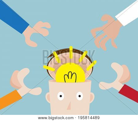 hands pick bulb idea in human head business concept vector illustration