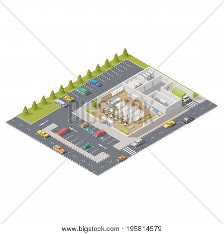 Element infographics representing a supermarket in section with parking located on street vector graphic illustration design