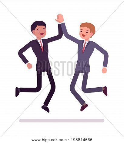 Businessmen high five jumping. Partners in formal wear greeting, congratulation or celebration gesture. Office etiquette concept. Vector flat style cartoon illustration, isolated, white background