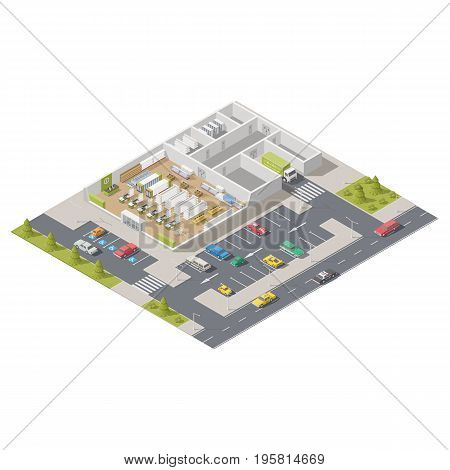 Element infographics representing a supermarket in section with parking located on a street vector graphic illustration design