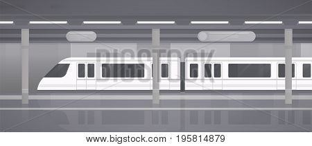 Subway, underground platform with modern train. Horizontal monochrome vector illustration in flat style