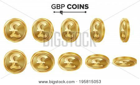 GBP 3D Gold Coins Vector Set. Realistic Illustration. Flip Different Angles. Money Front Side. Investment Concept. Finance Coin Icons, Sign, Success Banking Cash Symbol. Currency Isolated