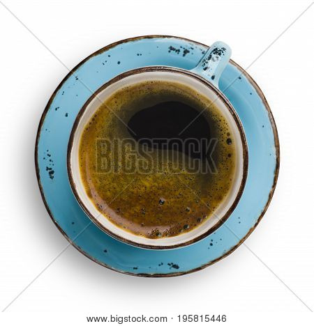 Vintage blue cup with coffee and saucer isolated on white