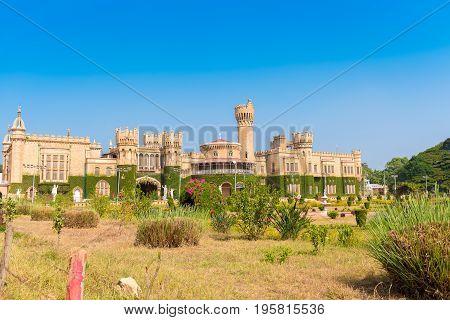 Main buildings of Bangalore Palace Bangalore Karnataka India. Copy space for text