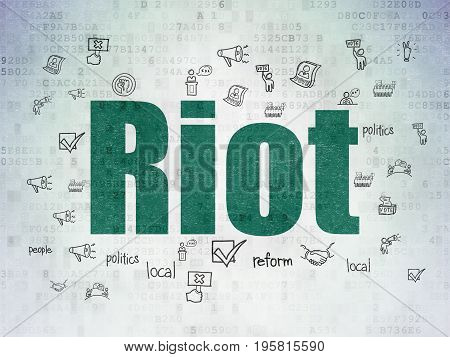 Politics concept: Painted green text Riot on Digital Data Paper background with  Hand Drawn Politics Icons