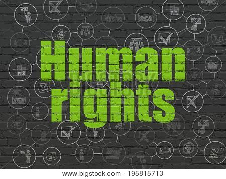 Political concept: Painted green text Human Rights on Black Brick wall background with Scheme Of Hand Drawn Politics Icons