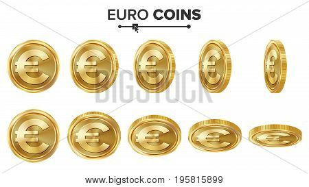 Euro 3D Gold Coins Vector Set. Realistic Illustration. Flip Different Angles. Money Front Side. Investment Concept. Finance Coin Icons, Sign, Success Banking Cash Symbol. Currency Isolated