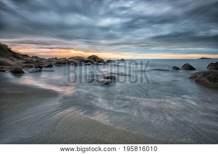 Sea Sunrise. Seascape Before Sunrise In Cloudy Morning. Beautiful Natural Seascape, Blue Hour. Rocky