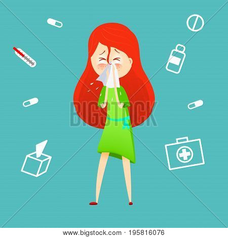 Sick girl. Allergy kid sneezing. Vector cartoon illustration. ill child with flu or virus. Health care concept. Running noise symptom. infographic poster. Season allergy