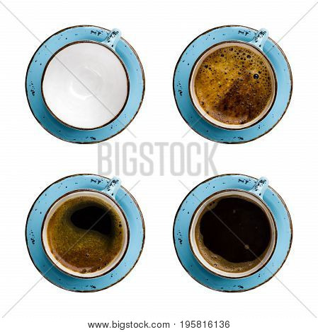 Collage of coffee cups with different contents isolated on white