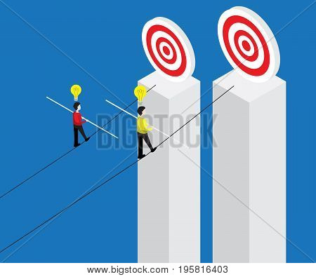 businessman walking on rope with balance stick to target business risk concept vector illustration