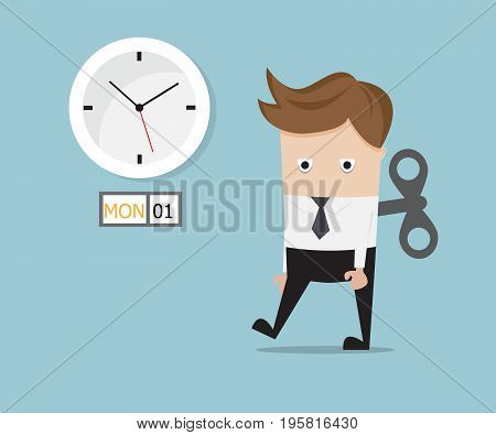 businessman tired walking with wind up on monday vector illustration