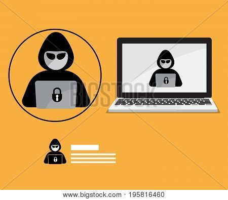 abstract hacker logo with laptop background security concept vector illustration
