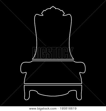 Throne White Color Path  Icon .