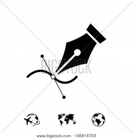 fountain pen icon stock vector illustration flat design