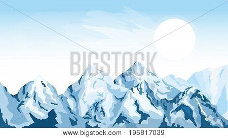 Cartoon illustration of the mountain background with sun