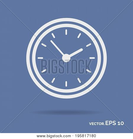 Clock outline icon white color isolated on cyan background. Vector Illustration