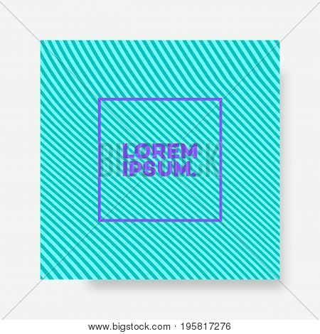 Cover design template square shape with abstract lines green color background minimal style for catalog, flyer, poster, magazine, brochure, presentation, book, banner, infographic. Vector Illustration