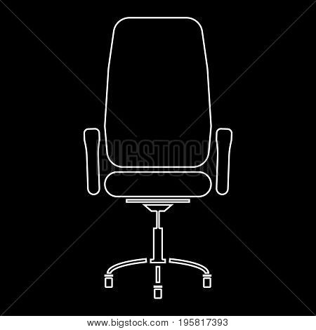 Office Chair White Color Path  Icon .