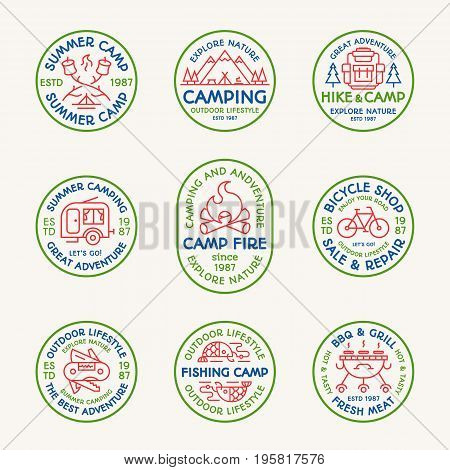 Camping emblem set color line style consisting of camper, mountain, backpack, bicycle, barbecue, grill, trees, tent, fish, fire for tourist symbol, explore logo, travel badge, expedition label