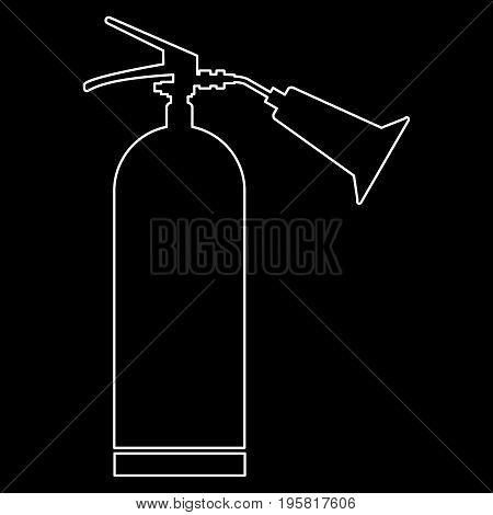 Fire Extinguisher White Color Path  Icon .