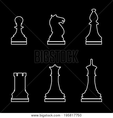 Chess Pieces White Color Path  Icon .