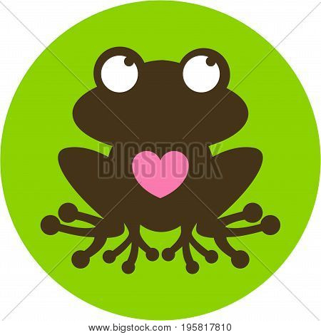 Love Heart Frog Character in Silhouette Illustration