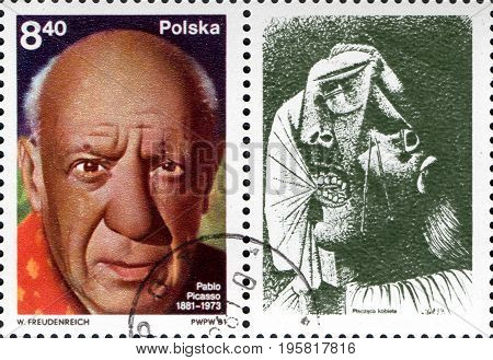 UKRAINE - CIRCA 2017: A postage stamp printed in Poland shows Pablo Picasso spanish painter and sculptor from the series The 100th Ann. of the Birth of Pablo Picasso circa 1981