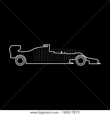 Silhouette Of A Racing Car White Color Path  Icon .