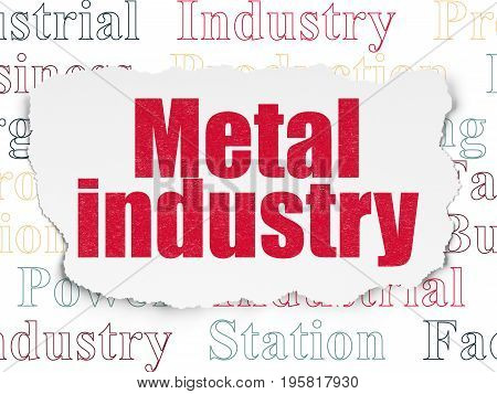 Industry concept: Painted red text Metal Industry on Torn Paper background with  Tag Cloud