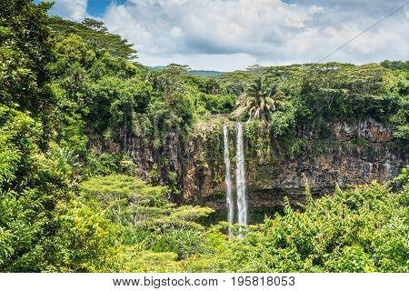 Scenic Chamarel Waterfalls in jungle of Mauritius island