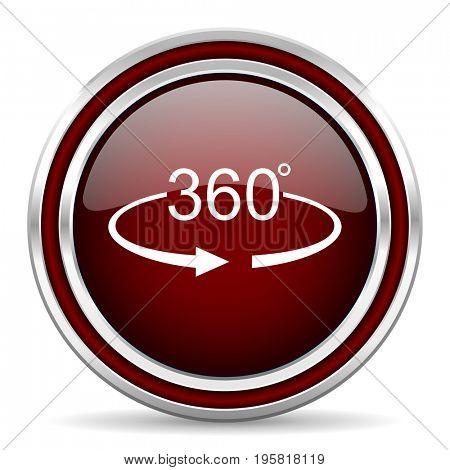 Panorama 360 red glossy icon. Chrome border round web button. Silver metallic pushbutton.