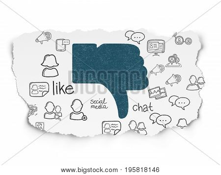 Social network concept: Painted blue Thumb Down icon on Torn Paper background with  Hand Drawn Social Network Icons