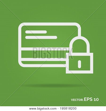 Credit card security outline icon white color isolated on green background. Vector Illustration