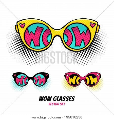 Comic sunglasses with inscription wow text in reflection on halftone background. Vector bright dynamic cartoon objects set in retro pop art style isolated on white background.