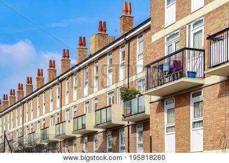 Typical English Terraced Houses In London