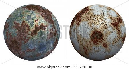 3d rusted steel spheres set or collection  isolated on white,ideal for 3D symbols, web buttons or logo designs poster