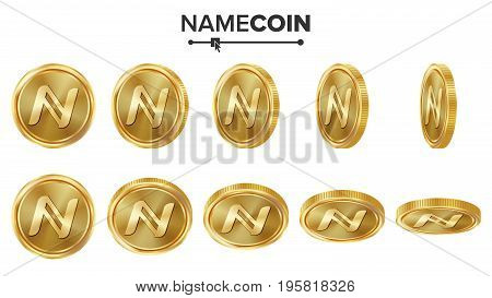 Namecoin 3D Gold Coins Vector Set. Realistic. Flip Different Angles. Digital Currency Money. Investment Concept. Cryptography Finance Coin Icons, Sign. Fintech Blockchain. Currency Isolated