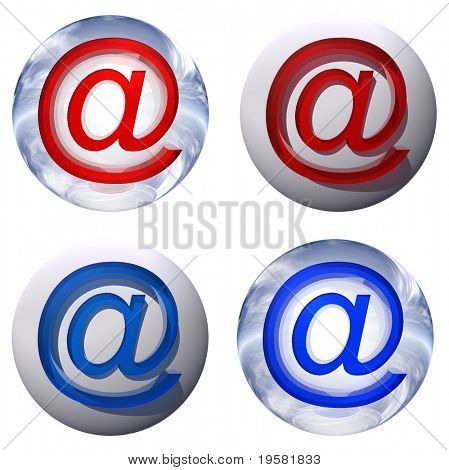 3d blue and yellow glass spheres set or collection isolated on white background,with an golden or yellow metal and red 3d at or mail symbol for web design buttons or signs.